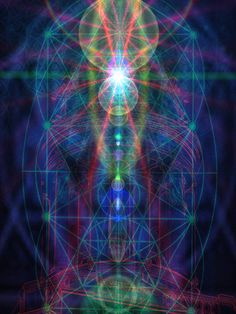 Light beams to and from chakras
