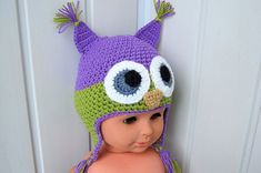 Children's cap knitted hat cap Owl a hat by NataliaHandmede