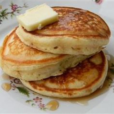 Old-Fashioned Pancakes, Prep Time: 5 Minutes, Cooking Time: 20 Minutes, Serves: 12 Servings, Directions: 1. Sift together flour, baking powder, salt, and sugar in a large bowl.      2. Whisk in melted butter, egg, and milk until combined. Let batter rest for 5 minutes.      3. Preheat a large skillet over medium-high heat. Spray with cooking spray. Pour batter into the hot skillet, about 1/4 cup of batter for each pancake. Cook for 2 to 3 minutes, until bubbles appear on the sides and center…
