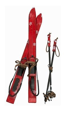 red skis poles wall decor 20 ski decorwall decorationschristmas - Ski Christmas Decorations