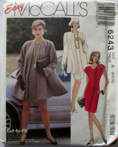 McCalls 6243 Womens Unlined Jacket & Dress Sewing by Denisecraft, $5.99
