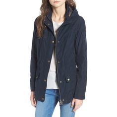 Women's Barbour Ranunculus Casual Hooded Jacket ($249) ❤ liked on Polyvore featuring tops, hoodies, navy, barbour, navy blue hoodies, navy blue top, navy hoodies and navy top