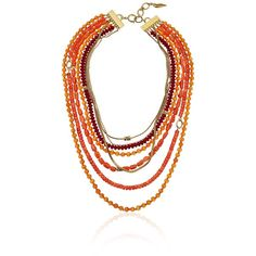 """Diane von Furstenberg """"Caribbean Coral"""" Mixed Semiprecious Coral Bead... ($258) ❤ liked on Polyvore featuring jewelry, necklaces, semi precious necklace, coral necklace, double layer necklace, semi precious bead necklace and layered chain necklace"""