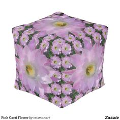 Pink Cacti Flower Cube Pouf