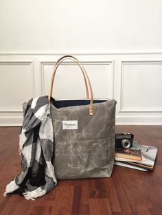 ready to ship  waxed canvas zip tote in light by NewtonSupplyCo