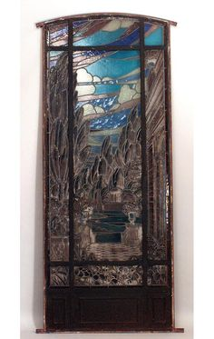 19th Century Stained and Leaded Glass Landscape Window | From a unique collection of antique and modern windows at https://www.1stdibs.com/furniture/building-garden/windows/