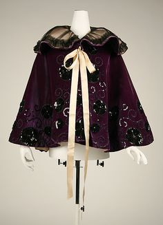 Silk Evening cape,1894-1898, American or European. Via MMA.