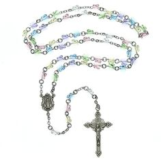 "Customer review: ""Choosing this beautiful rosary for my granddaughter's First Communion was the best choice. She loves the crystal butterflies and it's small size. Hopefully she'll have it for a long time."""