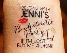 15 Custom Bachelorette Party Temporary Tattoos