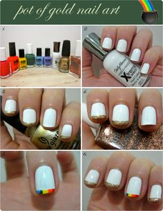 ... Interesting... St. Patrick's day nail art: pot ofgold. I'll try it with a nude base instead of white.