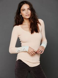 Free People Kombucha Cuff Thermal, Apricot