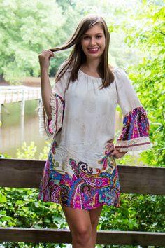 Dig It Dress - Paisley Bright Pattern Bell Sleeve Dress