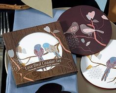 Love Birds Cork Back Coaster Set... Cute Favor? Really, the question is, will people use them?