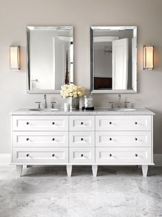 The Design Company - bathrooms - white and gray bath, white and gray bathroom, beveled mirror, beveled vanity mirror, vanity sconces, double...