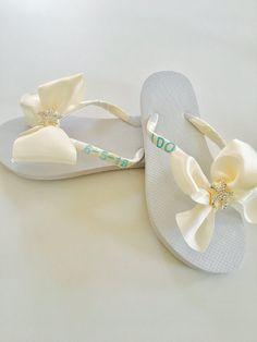 fd5a20f2cc4d68 Bridal Flip Flops. Wedding Flip Flops. Wedding Shoes. Bridesmaid Shoes. Bridal  Shoes. Beach Wedding Shoes. Bowed Flip Flops. Starfish