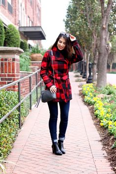 Red Plaid and Denim. Red Plaid Jacket with Denin Jeans. Ankle Booties with Jeans. Fall Fashion. Winter Fashion. Fall Style. Winter Style.