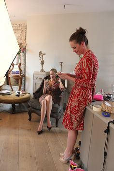 Models having a break in some fab print dresses coming soon to www.saintbustier.com