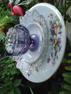 Side view of violet plate. MiMi's Plate Flowers