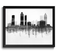 Black White Grey Atlanta Skyline Georgia USA by CityPrintsYourWay