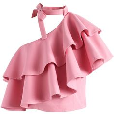 Chicwish Ritzy One-shoulder Ruffled Crop Top in Pink ($44) ❤ liked on Polyvore featuring tops, pink, frill top, pink crop top, flutter crop top, off one shoulder tops and frill crop top