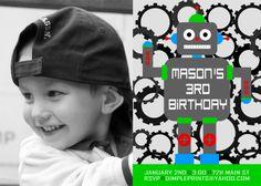 robot birthday party invite $13