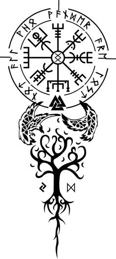 Lots of Norse symbols here, but most notable are the Elder Futhark Runes around . - Lots of Norse symbols here, but most notable are the Elder Futhark Runes around the Vegvísir. Viking Rune Tattoo, Viking Tattoo Sleeve, Norse Tattoo, Viking Tattoo Design, Viking Dragon Tattoo, Viking Art, Viking Runes, Tattoo Sleeve Designs, Sleeve Tattoos
