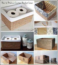 Home Diy Organization Ideas Dollar Stores Ideas For 2019 Rope Crafts, Diy Home Crafts, Diy Home Decor, Diy Bathroom Decor, Decor Room, Diy Para A Casa, Diy Casa, Diy Storage Boxes, Decorative Storage Boxes