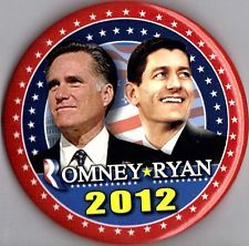 """A 2012 """"Mitt Romney & Paul Ryan"""" Presidential GOP Campaign Button. President Barack Obama was re-elected for his term as our US president. Obama Campaign, Political Campaign, Presidential History, 2016 Presidential Election, All Presidents, King Horse, Campaign Posters, Political System, Badge Design"""