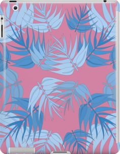 Funky pink and blue foliage print iPad case. Perfecr gift for her.High quality product designed by independent artist.