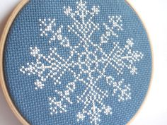 Embroidery Hoop Art - Snowflake - Christmas - Complete Cross Stitch - Wall Art - Blue - white