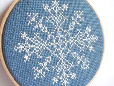 Christmas snowflake cross stitch hoop art