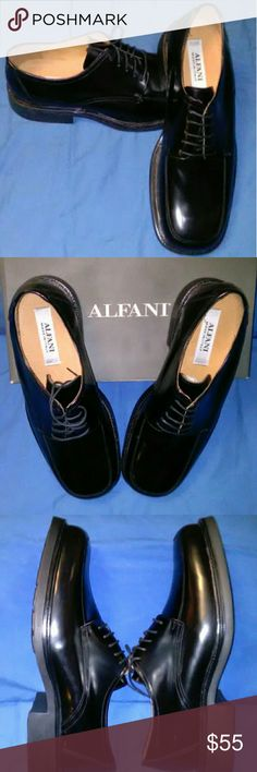 🆕🇮🇹Alfani 🇮🇹 Italian-Made Black Dress Shoe 12 NEW Men's Alfani Genuine  Leather Dress Shoes - Made in Italy - Great Shoe for Both Casual & Dress - Lace Up Oxford Style - Black with Polished Finish - Size: 12 - All Leather Upper - Man-made Sole - New- Not Worn & In Original Box - Save over 50% Off Original Retail  🚀 Should Ship within 12-24        Hours of Purchase ✈   Ref #8180/060 Alfani Shoes Oxfords & Derbys
