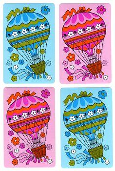 HOT AIR BALLOONS (4) Vintage Single Swap Playing Cards Paper Ephemera Scrapbook via Etsy