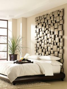 35 Cool Headboard Ideas To Improve Your Bedroom Design. (try fabric wrapping small pieces of wood and then stick to wall in random house design home design interior design interior design Home Bedroom, Bedroom Decor, Bedroom Ideas, Bedroom Retreat, Bedroom Lighting, Bed Ideas, Dream Bedroom, Queen Bedroom, Bedroom Interiors