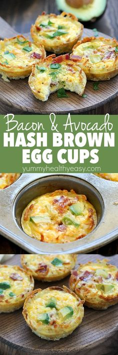 Bacon Avocado Hash Brown Egg Cups are the perfect make-ahead breakfast! They have a crispy crust of hash browns and are filled with bacon, egg, cheese and avocado deliciousness. They have so much flavor packed into a muffin size breakfast bite! Healthy Breakfast Muffins, Breakfast Bites, Make Ahead Breakfast, Eat Breakfast, Avocado Breakfast, Breakfast Casserole, Avocado Toast, Bacon Avocado, Bacon Egg