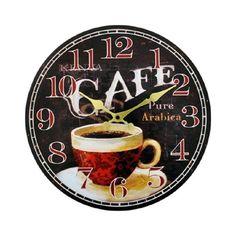 Relógio de Parede em Madeira Redondo Café 33cm                              …