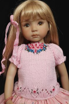 """Handmade Embroidered Knit Outfit for Effner 13"""" Little Darling Dolls 