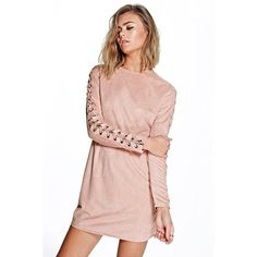 Boohoo Boutique Boutique Lia Suedette Lace Up Sleeve Dress featuring polyvore, women's fashion, clothing, dresses, blush, cami dress, pink camisole, sleeve cocktail dress, holiday dresses and pink dress
