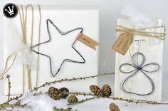 Engel und Stern aus Draht als Weihnachtsdeko oder Geschenkanhänger