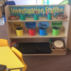 Investigation area EYFS and the 5 senses Investigation Area, Investigation Discovery, Investigations, Senses Activities, Eyfs Activities, Science Activities, Science Area Preschool, Science For Kids, Senses Preschool