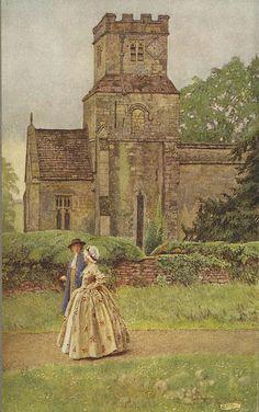 "Eleanor Fortescue Brickdale illustration  "" I leave the church in sermon-time """