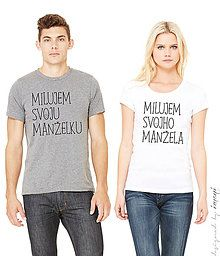 Tričká - Pánske a dámske tričko krátky rukáv - súprava MILUJEM  - 6298059_