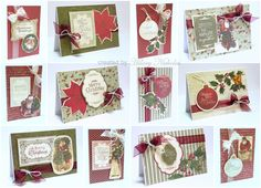 A set of 12 cards made with Kaisercraft's St Nicholas collection