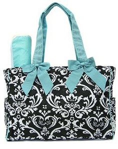 Monograrmmed Black/ Blue Damask Diaper Bag by AmyBsEmbroidery, $30.00