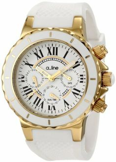 a_line Women's AL-20103 Marina White Dial White Silicone Watch a_line. $99.99. Mineral Crystal; Polished Gold Ion-Plated Stainless Steel Case; White Textured Silicone Strap. Water-resistant to 50 M (165 feet). Quartz Movement. White Dial with Gold Tone Hands and Black Roman Numerals; Luminous; Gold Ion-Plated Stainless Steel Bezel with White Ring; Gold Ion-Plated Crown with White Cabochon. Day, Date and 24 Hour Subdial. Save 88%!