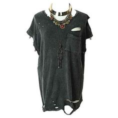 Vintage Skull Studded Tee with Ripped Detail via Polyvore featuring tops, t-shirts, studded top, torn t shirt, skull top, destroyed t shirt and ripped tees