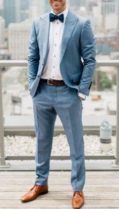 Wedding suits men blue groom attire boutonnieres Ideas for 2019 Summer Wedding Suits, Wedding Tux, Spring Wedding Colors, Light Blue Suit Wedding, Men Wedding Suits, Best Man Outfit Wedding, Gray Suit Wedding, Light Blue Bow Tie, Trendy Wedding