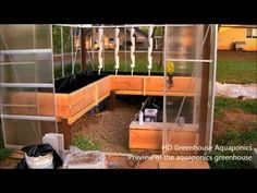 HD Aquaponics Greenhouse - preview of the nearly finished aquaponics greenhouse with 3 types of grow bed styles.