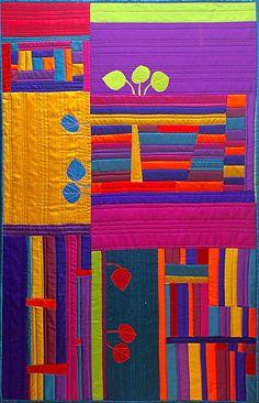 Geri deGruy, Colorado Autumn Blaze, 49 x 32 inches, fiber on quilt backing and batting