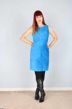 1980's Electric Blue Suede Mod Party Dress by VintageBySuzanne on Etsy